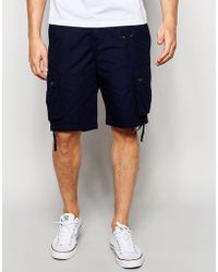 Pretty Green | Shorts With Pocket In Navy | Lyst