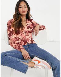 Glamorous Wrap Button Front Blouse - Multicolour