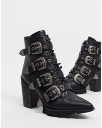 LAMODA Don't Even Heeled Buckle Boots - Black
