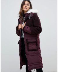Urbancode - Parka Coat With Tonal Borg Trim And Faux Fur Hood - Lyst