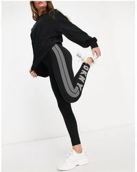DKNY Leggings neri con logo sul lato - Nero