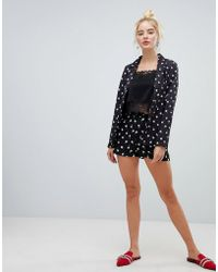 Fashion Union - High Waist Tailored Shorts In Spot Rose Print Co-ord - Lyst