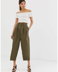 Y.A.S Utility Crop Cargo Trousers - Green