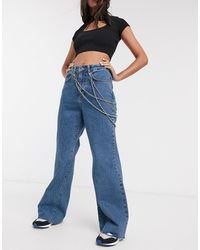 The Ragged Priest High Waist Skater Jeans With Double Chain-blue