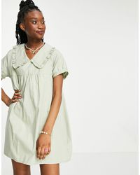 Daisy Street Smock Playsuit With Oversized Collar - Green