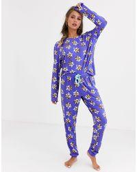 Chelsea Peers – Christmas Pug Pud – Weihnachts-Pyjama mit Mops-Motiv - Lila