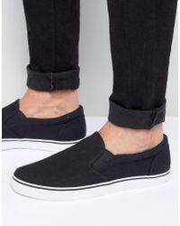 ASOS - Slip On Sneakers In Black Canvas - Lyst
