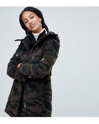 Esprit Hooded Camo Print Coat - Green