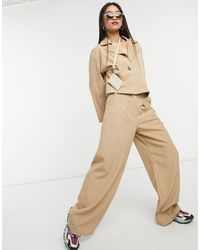 Native Youth High Waist Pleated Very Wide Leg Trousers Co-ord - Natural