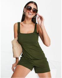 UNIQUE21 Strappy Apron Neck Playsuit - Green