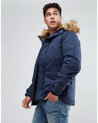 Jack & jones Parka With Faux Fur Hood in Gray for Men | Lyst