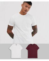 ASOS 2er Pack t-Shirts mit Rundhalsausschnitt, spare - Weiß