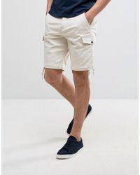 Pretty Green - Vale Cargo Shorts In Stone - Lyst