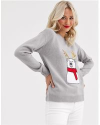 Brave Soul Polar Bear Christmas Sweater With Sequin Antlers - Grey