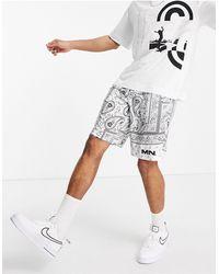 Mennace Pantaloncini bianchi con stampa bandana - Bianco