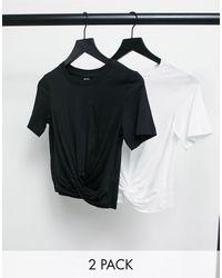 Monki - Набор Из 2 Футболок Черного И Белого Цвета Из Органического Хлопка С Присборенной Отделкой Wilma-многоцветный - Lyst