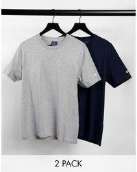 Champion Confezione da 2 t-shirt blu navy e grigio con logo piccolo