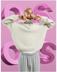 ASOS Knitted Oversized Rib Half Zip Jumper - Multicolour