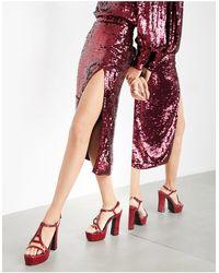 ASOS Sequin Split Wrap Midi Skirt - Red