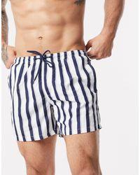 Brave Soul Stripe Swim Short - White