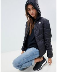 Kappa - Padded Jacket With Logo Tape Hood - Lyst