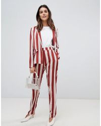 Vila - Stripe Tapered Pants - Lyst