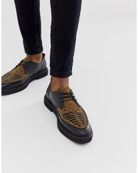 House Of Hounds Cooper Creepers In Leopard Suede - Multicolour