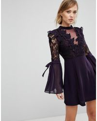 True Decadence - Premium Lace Mini Dress With Bow Sleeve Detail - Lyst