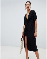 ASOS - Relaxed Midi Dress With Knot Front - Lyst