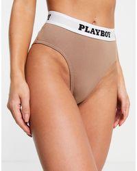 Missguided Playboy High Waist Briefs - Brown