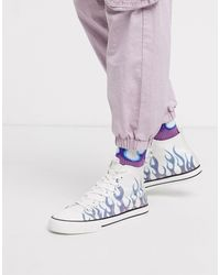 ASOS High Top Trainers With Flame Print Co-ord-white