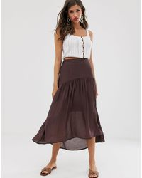 Vila Satin High Low Maxi Skirt - Brown