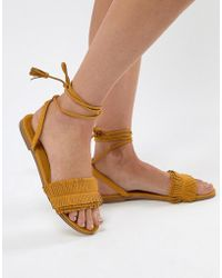 Pull&Bear - Fringe Tassle Sandal With Tie Up In Yellow - Lyst