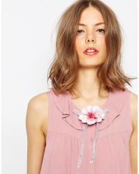 ASOS Flower Bow Hair Corsage & Brooch - Pink