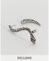Reclaimed (vintage) Inspired - Orecchino argento a serpente - Metallizzato