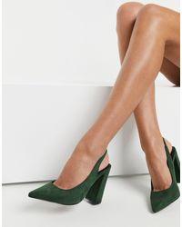 ASOS Зеленые Туфли На Высоком Блочном Каблуке С Ремешком Через Пятку - Зеленый