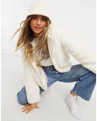 Miss Selfridge Teddy Coat With Hood - Natural