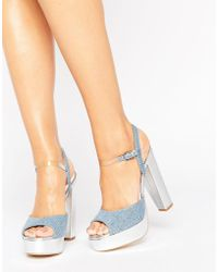 Terry De Havilland - Coco Denim Platform Heeled Sandals - Lyst