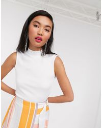 Native Youth High Neck Sleeveless Top - White