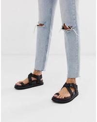 ASOS Freestyle Toe Loop Sporty Sandals - Black