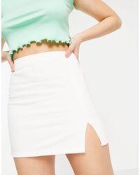 Pull&Bear Denim A-line Skirt With Split Detail - White