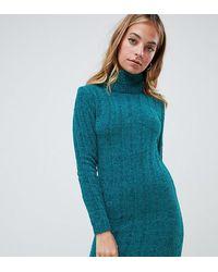 Brave Soul Perrie Roll Neck Jumper Dress - Blue
