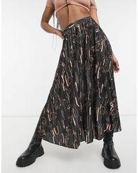 ASOS Jersey Pleated Midi Skirt - Black