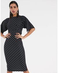 Closet Платье Миди В Горошек С Рукавами-кимоно -мульти - Черный