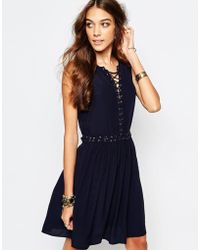 First & I - Eyelet Detail Tie Up Dress - Lyst