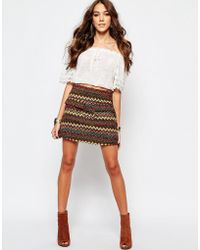 First & I - Aztec Printed Skirt - Lyst