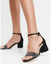 ALDO Embellished Mid Block Heel Sandals - Black