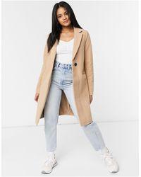 New Look Бежевое Приталенное Пальто -коричневый Цвет - Многоцветный