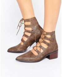 E8 - E8 By Miista Winter Cut Out Lace Up Heeled Ankle Boots - Lyst