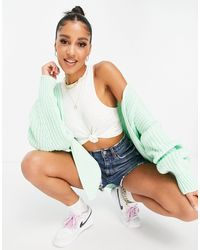 Missguided Cardigan With Batwing Sleeves - Green
